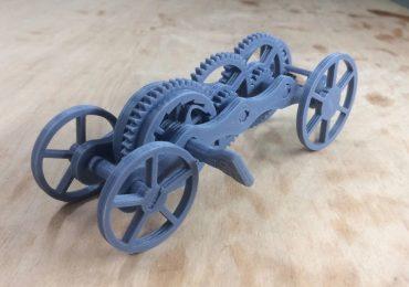 W pełni wydrukowany w 3D nakręcany samochód