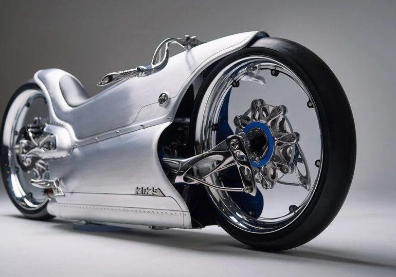 Futurystyczny motocykl Fuller Moto, wyprodukowany za pomocą druku 3D z metalu